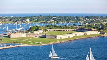 An aerial view of Fort Adams State Park