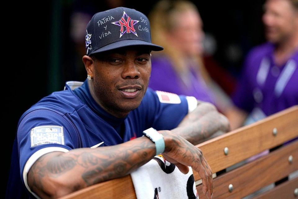 American League's Aroldis Chapman, of the Yankees, watches