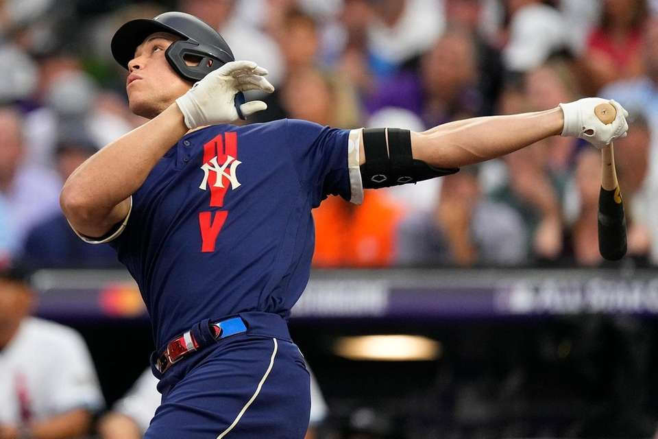 American League's Aaron Judge, of the Yankees, flies