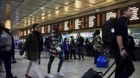 Long Island Rail Road customers at Penn Station