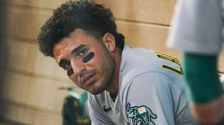 Ramon Laureano of the Athletics looks on from