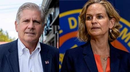 Bruce Blakeman and Nassau County Executive Laura Curran,