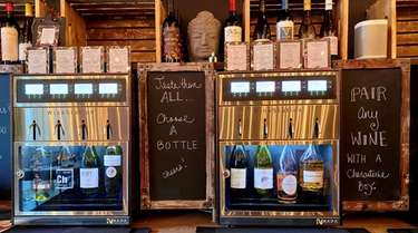 Temperature-controlled self-serve wine dispensers at B.Y.O.G. Wine Bar