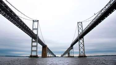 The 17.6-mile-long Chesapeake Bay Bridge connects the western