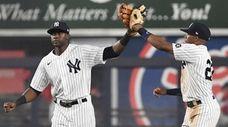 Yankees centerfielder Estevan Florial and rightfielder Greg Allen