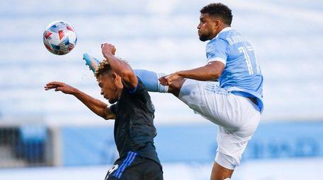 New York City FC midfielder Ismael Tajouri-Shradi, right,