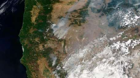 A satellite image provided Maxar Technologies shows an
