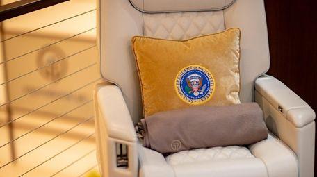 A custom pillow created by International Jet Interiors