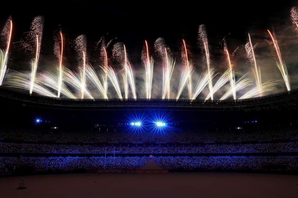Fireworks explode during the Opening Ceremony of the