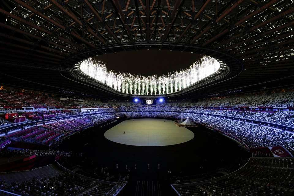 A general view inside the stadium as fireworks