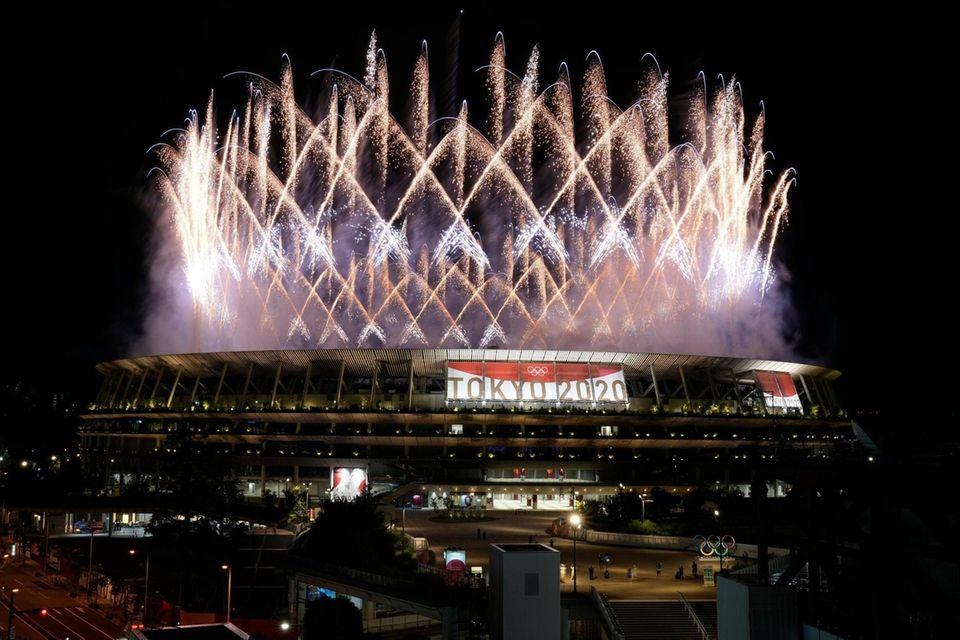 Fireworks illuminate over the National Stadium during the