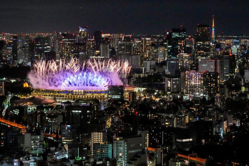 Fireworks illuminates over National Stadium during the opening