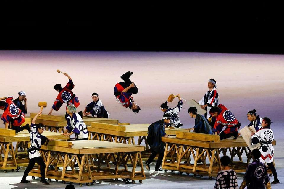 Performers in action during the Opening Ceremony of