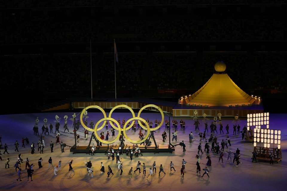 The Olympic Rings are seen during the Opening