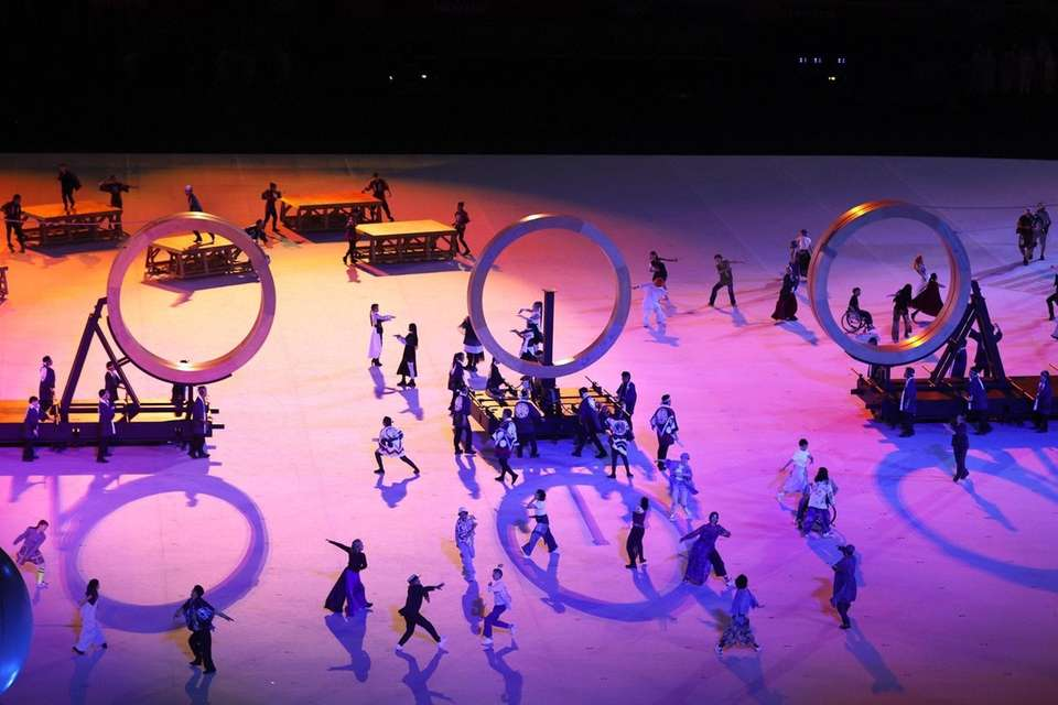 Performers are seen during the Opening Ceremony of