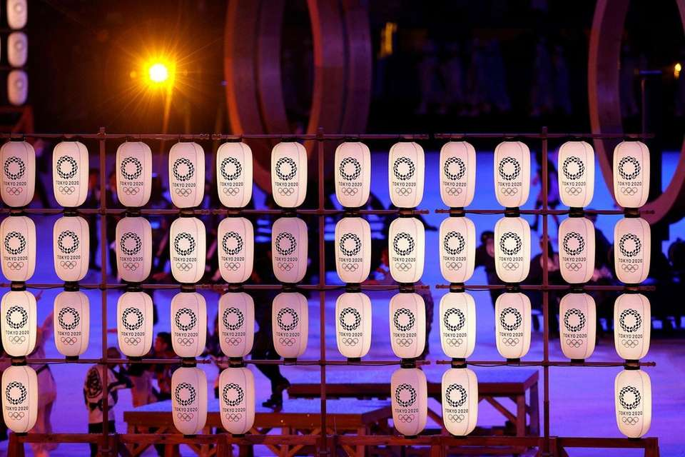 Tokyo themed lanterns during the Opening Ceremony of