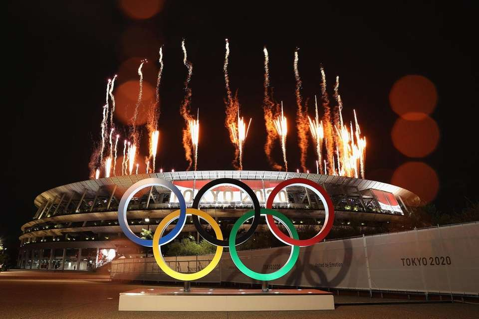 A general view outside the stadium as fireworks