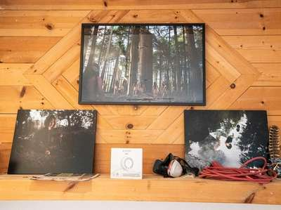 Jeremy Dennis' photographs are displayed even during renovations.