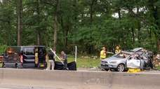 The wreckage from a recent fatal crash on