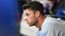 Blue Jays starting pitcher Steven Matz looks on