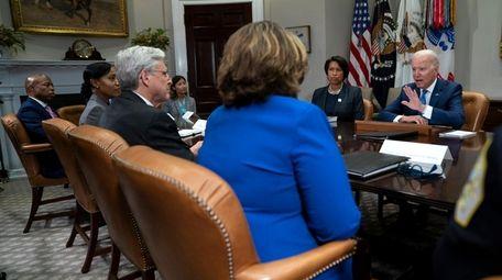President Joe Biden speaks during a meeting on