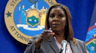 New York Attorney General Letitia James addresses a