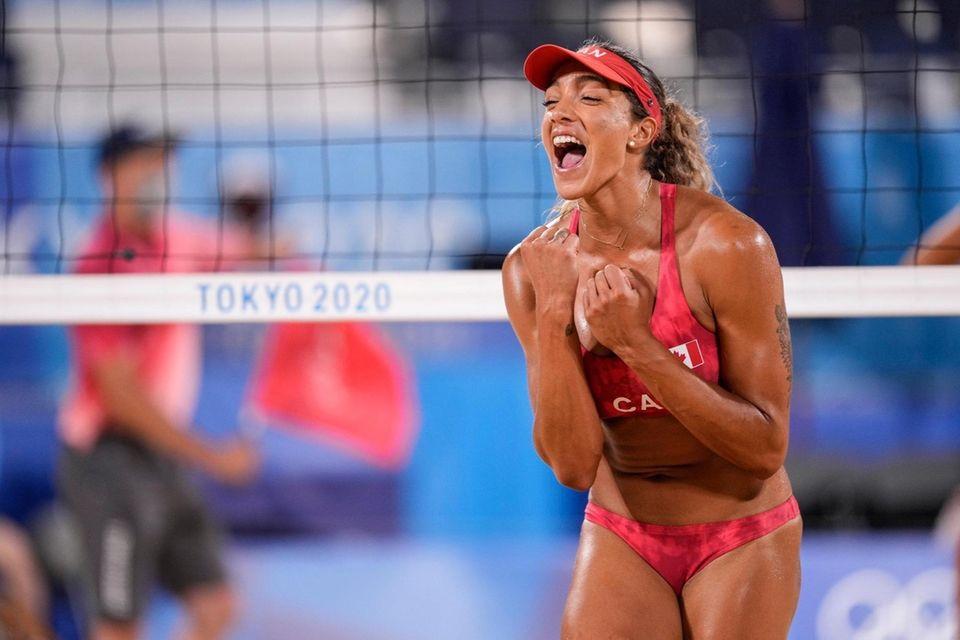 Brandie Wilkerson, of Canada celebrates a winning point