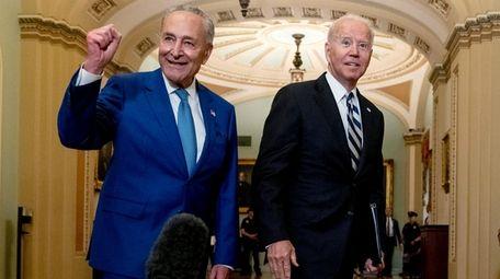 President Joe Biden joins Senate Majority Leader Chuck