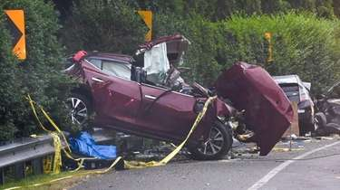 The scene of the fatal crash on Montauk