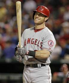 Josh Hamilton of the Los Angeles Angels smiles