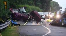 A head-on collision late Saturday in Quogue killed