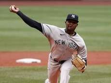 New York Yankees' Domingo German delivers a pitch
