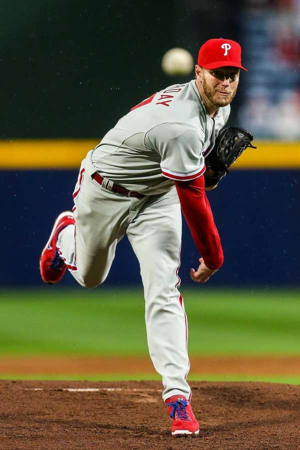 Roy Halladay of the Philadelphia Phillies pitches in