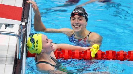 Ariarne Titmus of Team Australia and Katie Ledecky