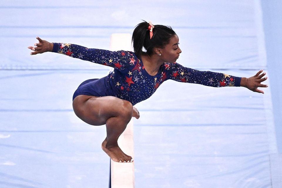 USA's Simone Biles competes in the artistic gymnastics
