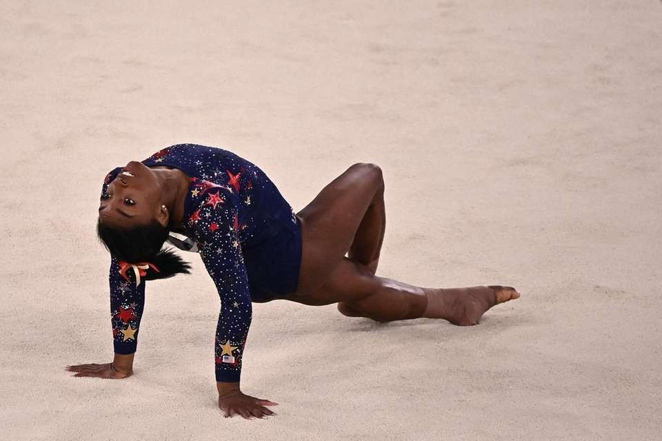 USA's Simone Biles competes in the floor event