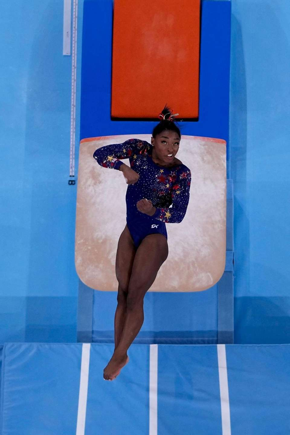 Simone Biles, of United States, performs on the
