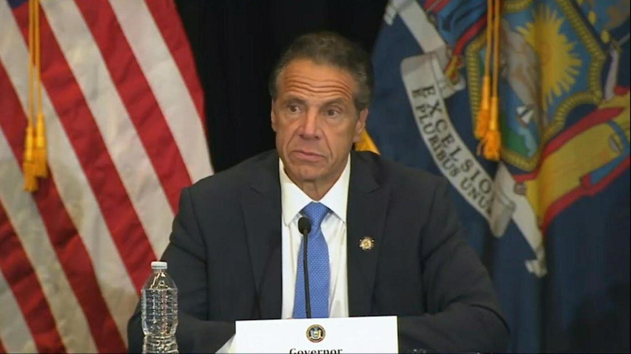 Gov. Andrew M. Cuomo, speaking at Yankee Stadium