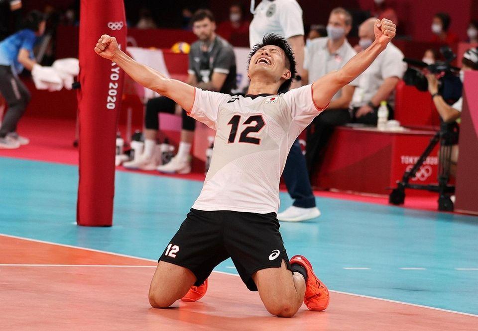 Masahiro Sekita #12 of Team Japan reacts with