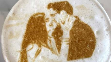 A cappuccino imprinted with a custom edible picture