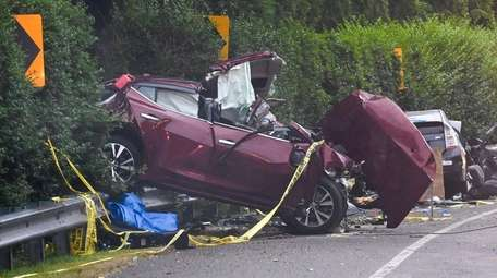 The wreckage in the fatal crash on Montauk