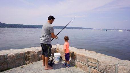 Joe Porreto, and his son Lorenzo, 4, of