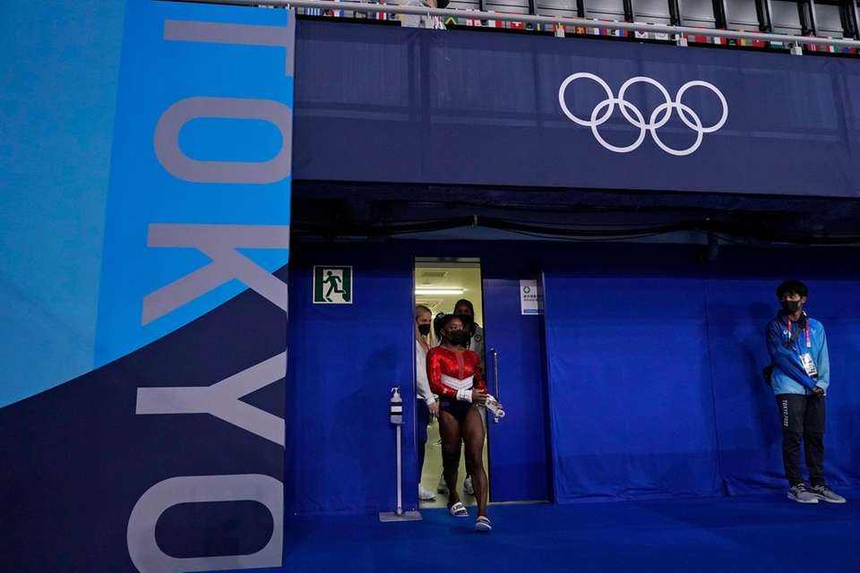 Simone Biles, of the United States, enters the