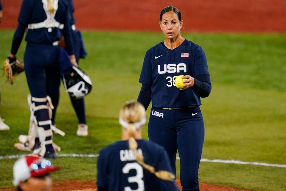 United States pitcher Cat Osterman is replaced with