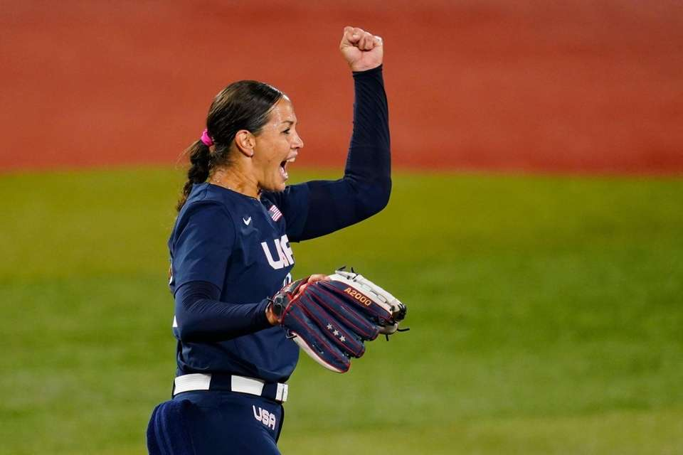 United States' Cat Osterman reacts after a ground