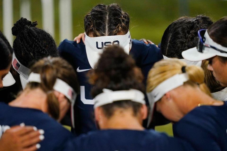 Members of team United States meet ahead of