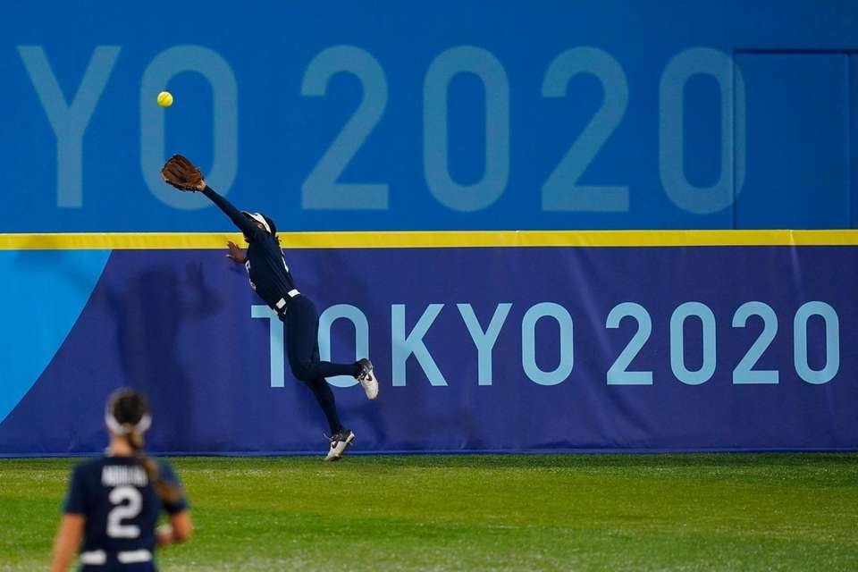 United States' Michelle Moultrie catches a fly out