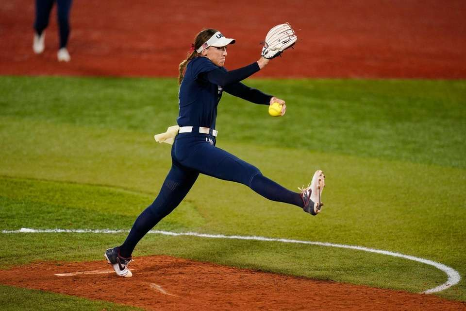 United States' Monica Abbott pitches during a softball