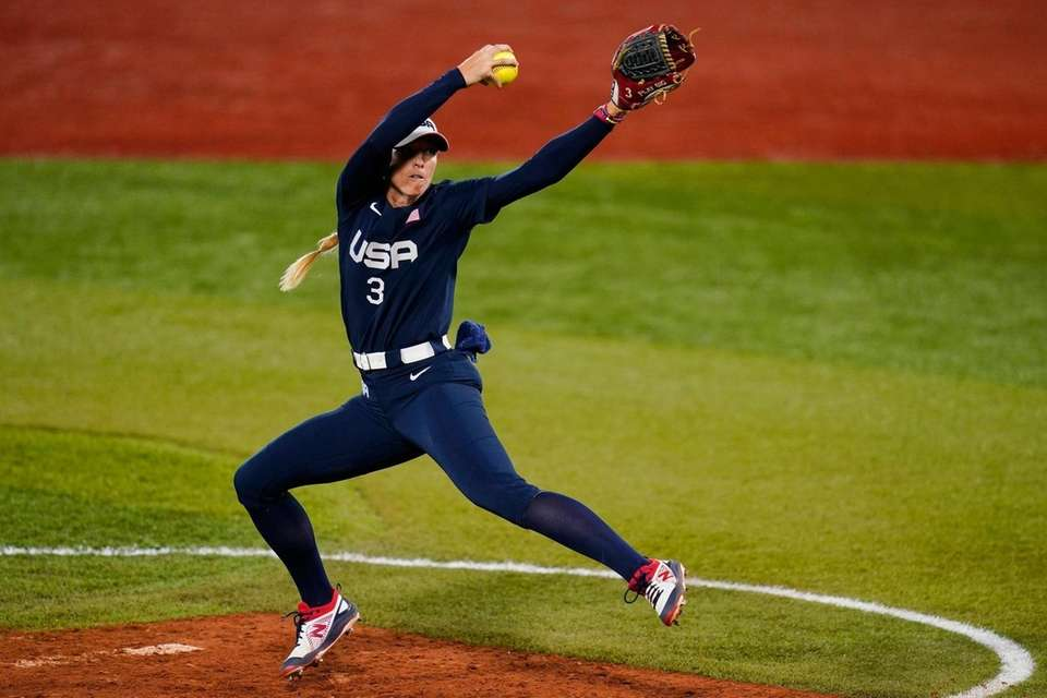 United States' Ally Carda pitches during the third
