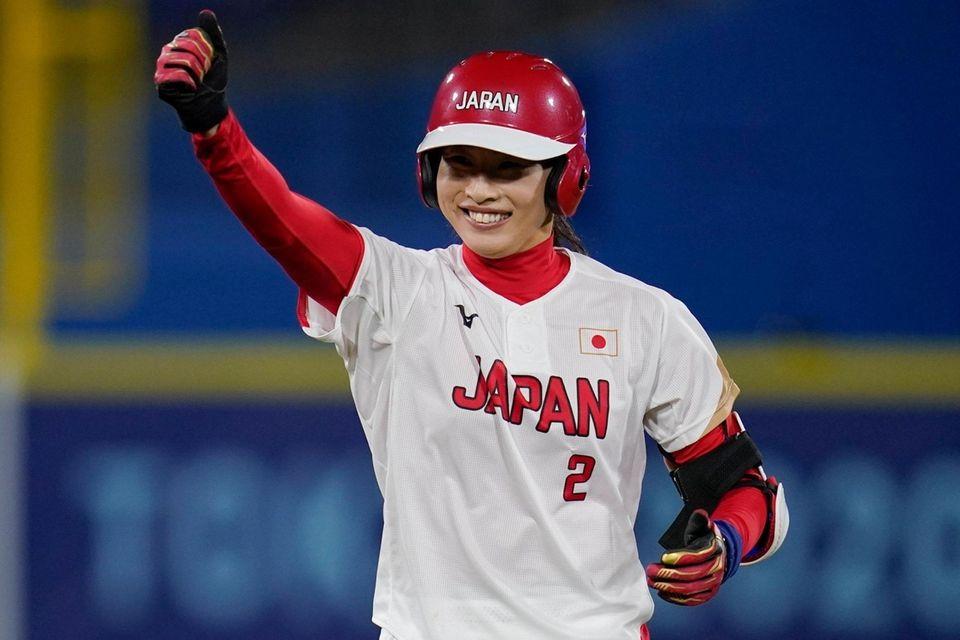 Japan's Saki Yamazaki reacts after hitting a double